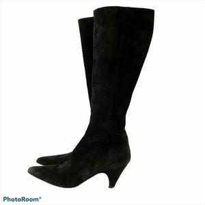 Prada black suede knee length boots